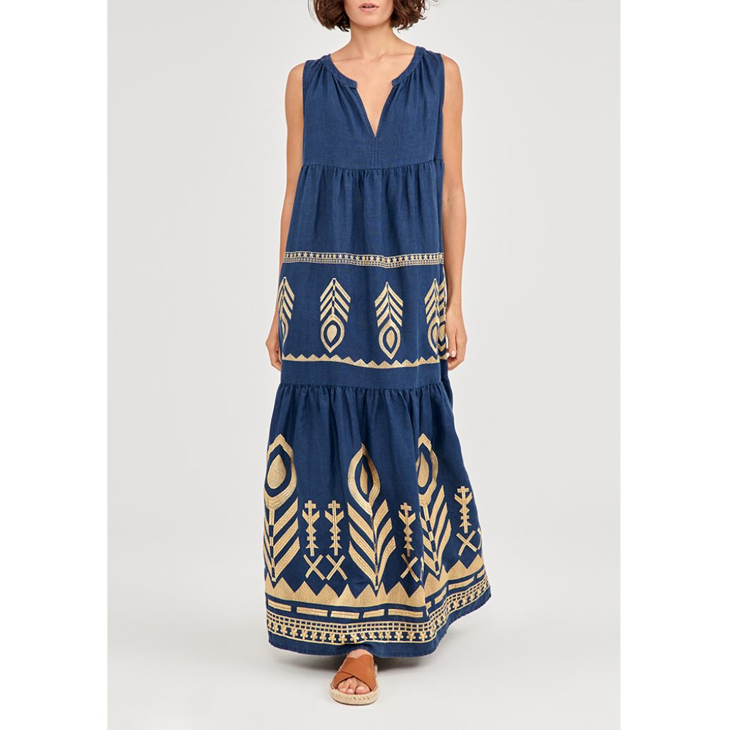 Feather Sleeveless Embroidered Dress · Navy Blue