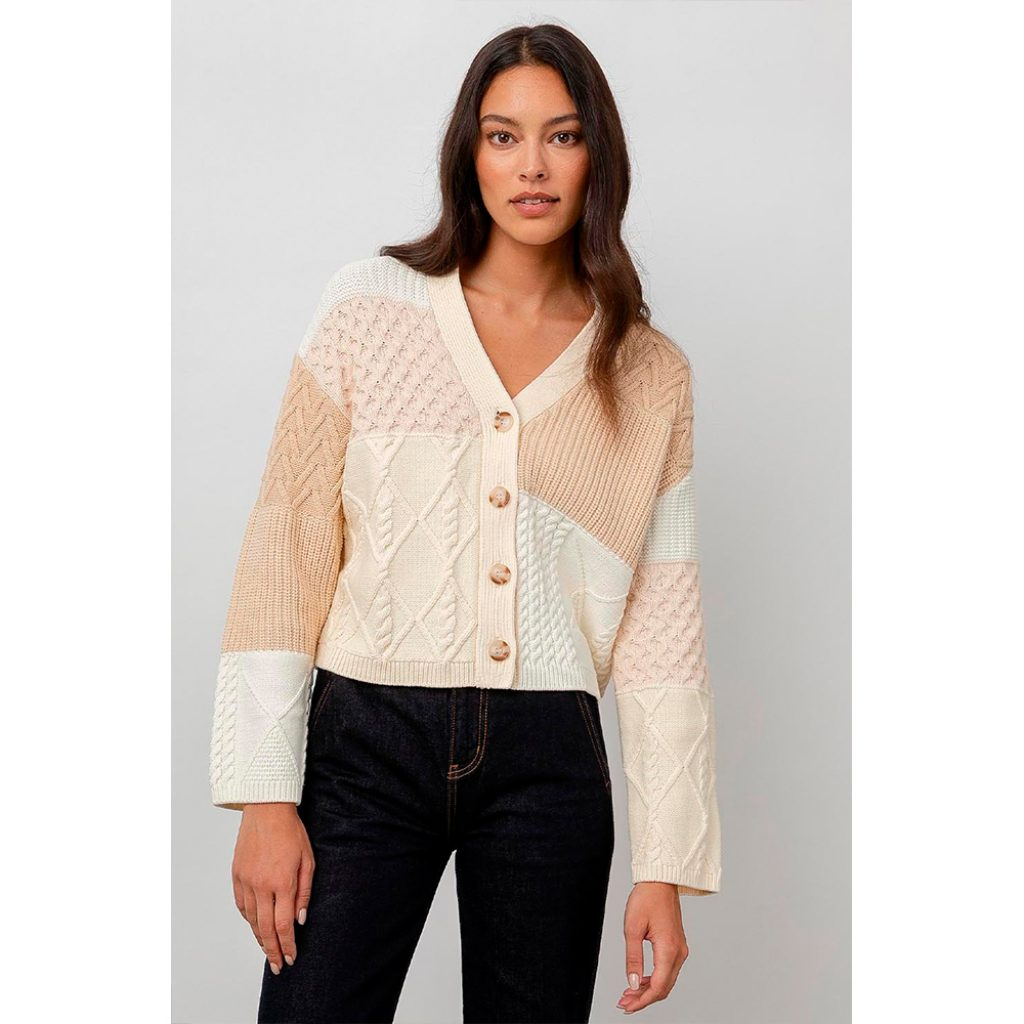 Reese · Cream Patchwork Cable